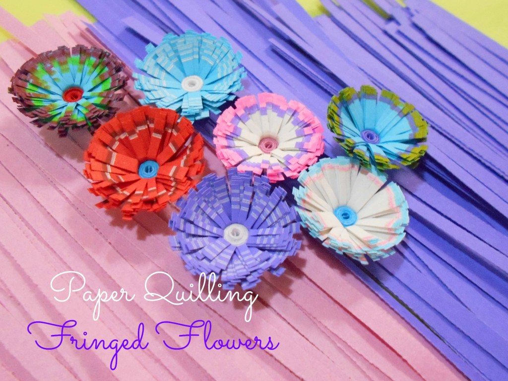 Tutorial For Colorful Paper Quilling Fringed Flowers Paper